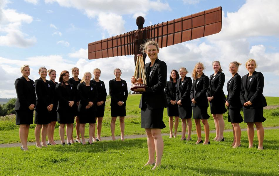 The England Women squad celebrate their Women's Ashes win during a photo opportunity at The Anthony Gormley 'Angel of the North' sculpture on August 31, 2013 in Gateshead, England. (Photo by Ian Horrocks/Getty Images)