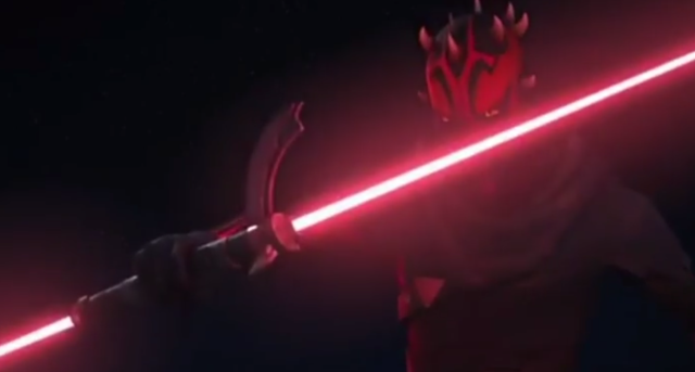 Darth Maul draws his blade against his old foe Obi-Wan Kenobi in  <em>Star Wars: Rebels.</em> (Photo: YouTube)