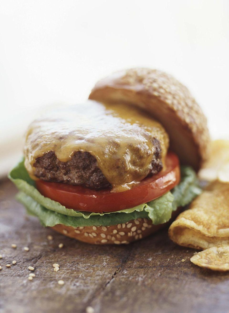 """<p>Cheeseburgers may not have been invented in Colorado (two other states contest this!), but the name """"cheeseburger"""" was indeed trademarked by Louis Ballast of Denver's Humpty Dumpty Drive-In in Denver in 1935. In 1987, a <a href=""""http://www.roadsideamerica.com/story/23581"""" rel=""""nofollow noopener"""" target=""""_blank"""" data-ylk=""""slk:roadside monument"""" class=""""link rapid-noclick-resp"""">roadside monument</a> was dedicated to this accomplishment. </p>"""