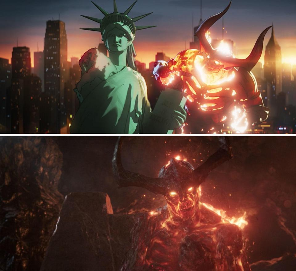 Surtur next to the Statue of Liberty