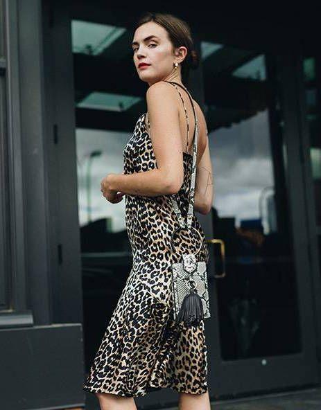NOW: Leopard print is having a major moment this season and is set to be huge for fall. Fashion girls everywhere still love a Wintour-esque slip dress or slip skirt—like this one—seen on the Insta set around the globe.