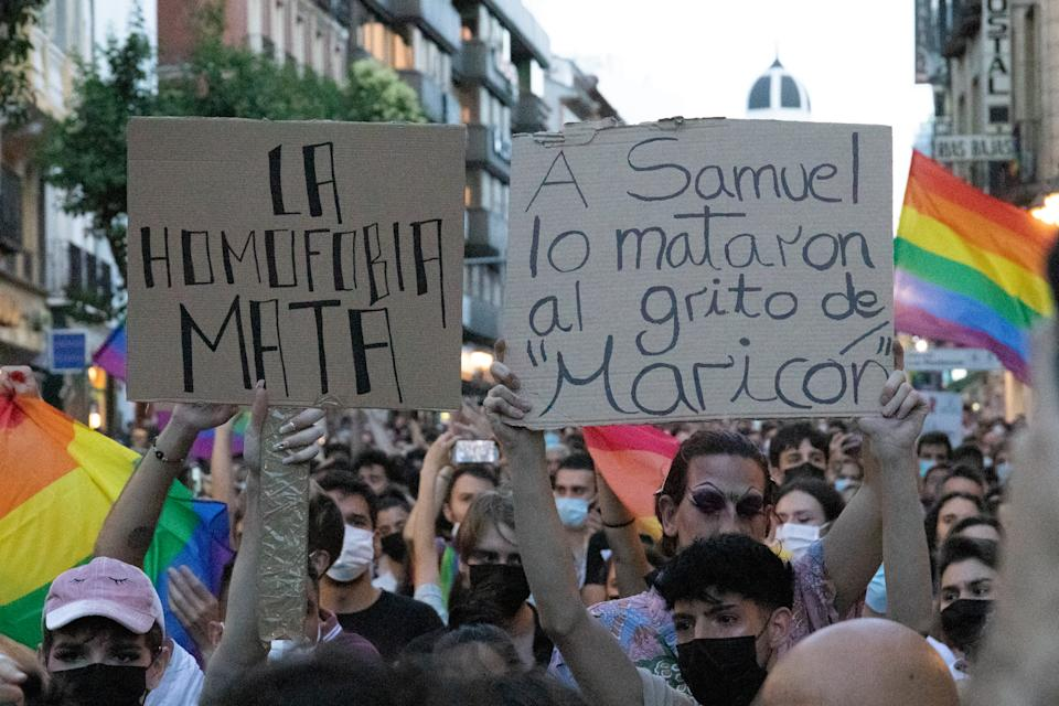Demonstration in Puerta del Sol, Madrid, Spain on July 5, 2021 against the murder of Samuel (24) in A Coruna. On Saturday, July 3, a group of 13 people allegedly beat Samuel to death because of his sexual orientation. Demonstrations have been called all over Spain under the slogan ''Justice for Samuel''. (Photo by Alvaro Laguna/NurPhoto via Getty Images)