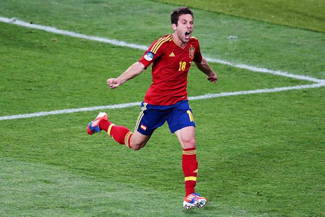 KIEV, UKRAINE - JULY 01: Jordi Alba of Spain celebrates after scoring his team's second goal during the UEFA EURO 2012 final match between Spain and Italy at the Olympic Stadium on July 1, 2012 in Kiev, Ukraine. (Photo by Martin Rose/Getty Images)