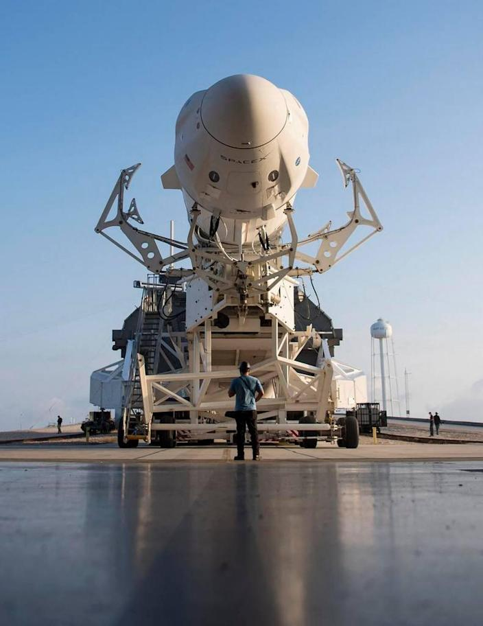 In this image released by NASA, a SpaceX Falcon 9 rocket carrying the company's Crew Dragon spacecraft is being deployed from the horizontal integration facility of Launch Complex 39A in preparation for the Crew 2 mission on April 16, 2021. .. At the Kennedy Space Center in Florida.  -The NASAs SpaceX Crew-2 mission is the second crew rotation mission for the SpaceX Crew Dragon SpaceX and the Falcon 9 rocket to the International Space Station as part of the agency's commercial crew program.  Astronauts Shane Kimbro and Megan McArthur of NASA, Astronaut Thomas Peske of ESA (European Space Agency), and Astronaut Akihiko Hoshide of Japan Aerospace Exploration Agency (JAXA) will be launched on April 22. It's a schedule. Editorial Use-Required Credits & # x00201c; AFP PHOTO / NASA / Aubrey Gemignani & # x00201d; -No Marketing-No Advertising Campaigns-Distributed as a Service to Clients (Photos by AUBREY GEMIGNANI / NASA / AFP via Getty Images)