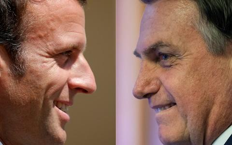 Mr Macron and Mr Bolsonaro have engaged in a very public war of words over the fires ravaging the Amazon - Credit: Charles Platiau, Mauro Pimentel/AFP