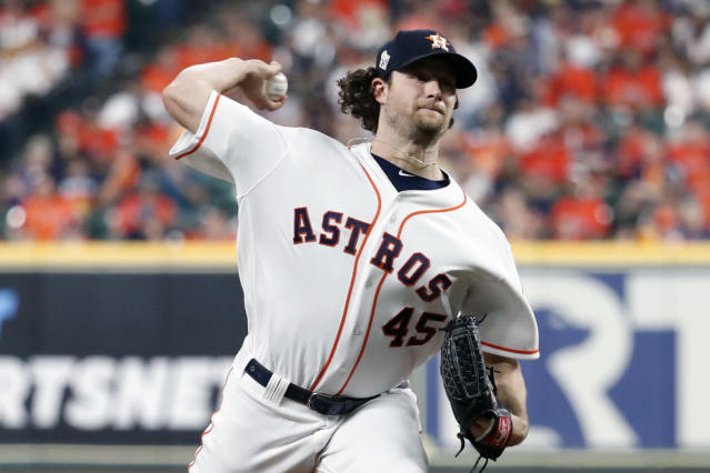 HOUSTON, TX - OCTOBER 22: Gerrit Cole #45 of the Houston Astros pitches during Game 1 of the 2019 World Series between the Washington Nationals and the Houston Astros at Minute Maid Park on Tuesday, October 22, 2019 in Houston, Texas. (Rob Tringali/MLB Photos via Getty Images)