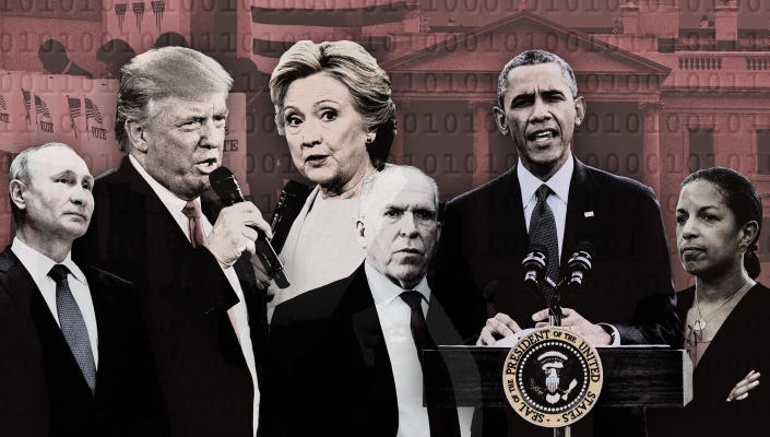 From left, Russian President Vladimir Putin, presidential candidates Donald Trump and Hillary Clinton, CIA Director John Brennan, President Barack Obama and national security adviser Susan Rice. (Photo illustration: Yahoo News; photos: AP (7), Getty Images)