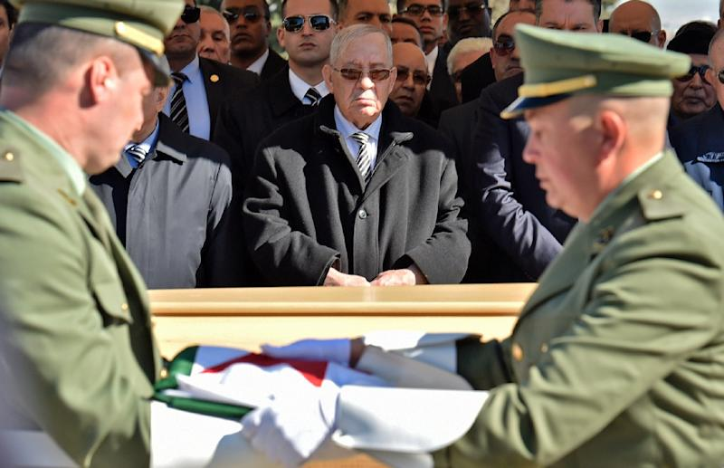 Algeria's armed forces chief Ahmed Gaid Salah (centre) has emerged as a de facto strongman since long-serving president Abdelaziz Bouteflika stepped down on April 2 in the face of massive protests