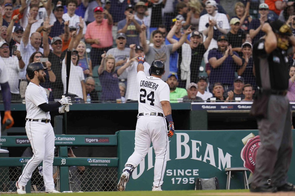 Detroit Tigers' Miguel Cabrera points to fans after hitting a solo home run against the Boston Red Sox in the second inning of a baseball game in Detroit, Tuesday, Aug. 3, 2021. (AP Photo/Paul Sancya)