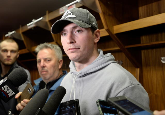 FILE - In this Monday, April 9, 2018, file photo, Ottawa Senators center Matt Duchene speaks to reporters as players clean out their lockers in Ottawa, Ontario. A video has surfaced showing several Ottawa Senators players, including Duchene, trashing the team and an assistant coach during an Uber ride, the latest bit of humiliation for an organization thats been riddled with it recently. (Justin Tang/The Canadian Press via AP, File)