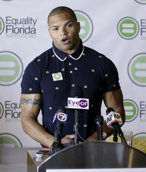 Former Baltimore Ravens reserve linebacker Brendon Ayanbadejo talks to reporters during a news conference in Fort Lauderdale, Fla., Tuesday April 23, 2013. An open proponent of gay marriage, Ayanbadejo spoke in favor of it in November, before Maryland passed a law allowing it, and also prior to the Super Bowl. He also recently spoke at a rally on the steps of the Supreme Court. Earlier this month, he told The Baltimore Sun that up to four NFL players may soon come out as gay. (AP Photo/Alan Diaz)