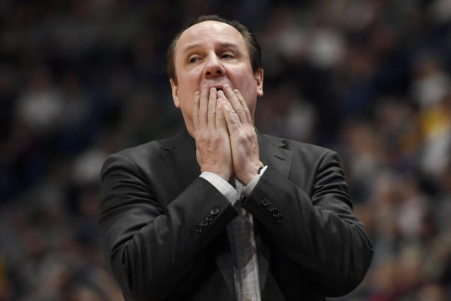 Wichita State head coach Gregg Marshall reacts in the second half of an NCAA college basketball game against Connecticut, Sunday, Jan. 12, 2020, in Hartford, Conn. (AP Photo/Jessica Hill)