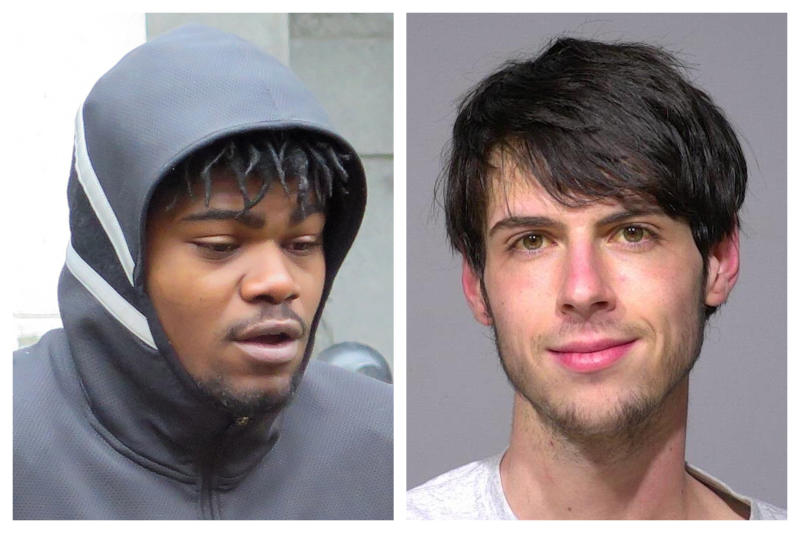 This combination of 2018 photos shows Jerry Smith, left, and Brandon Baker. The two Milwaukee men had encounters with police that ended drastically different in the same neighborhood: Baker was armed, Smith wasn't. Smith was shot, Baker was not. (Ivan Moreno, Milwaukee County Sheriff's Office via AP)