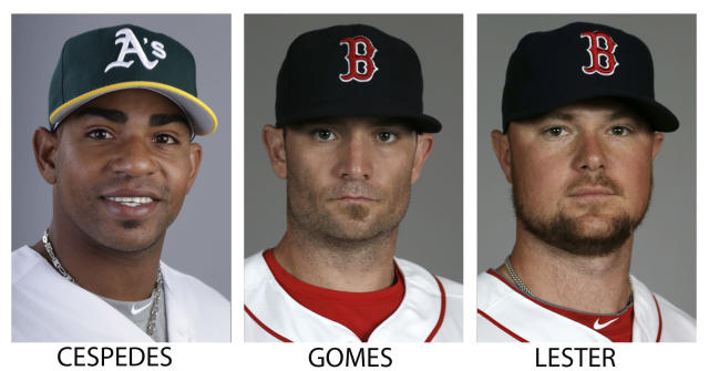 FILE - From left are 2014 file photos showing Oakland Athletics' Yoenis Cespedes, and Boston Red Sox players Jonny Gomes and Jon Lester. A person with knowledge of the trade says the Athletics have won the Jon Lester sweepstakes, acquiring the left-hander along with outfielder Jonny Gomes from the Red Sox for slugging outfielder Yoenis Cespedes before Thursday's, July 31, 2014, trade deadline. The person spoke on condition of anonymity because neither club announced the deal. (AP Photo/File)
