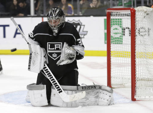 Los Angeles Kings goaltender Jack Campbell stops a shot on goal against the Winnipeg Jets during the third period of an NHL hockey game Monday, March 18, 2019, in Los Angeles. (AP Photo/Marcio Jose Sanchez)