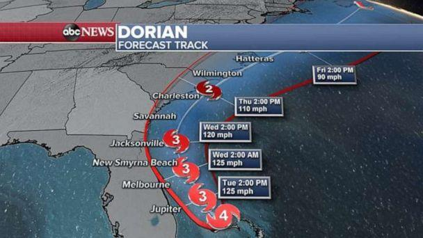 PHOTO: The storm is forecast to hug the Southeast coastline over the next few days. (ABC News)