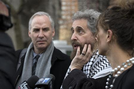 Suleiman Abu Ghaith's defense attorney Stanley Cohen speak to press outside Manhattan Federal Court house in New York