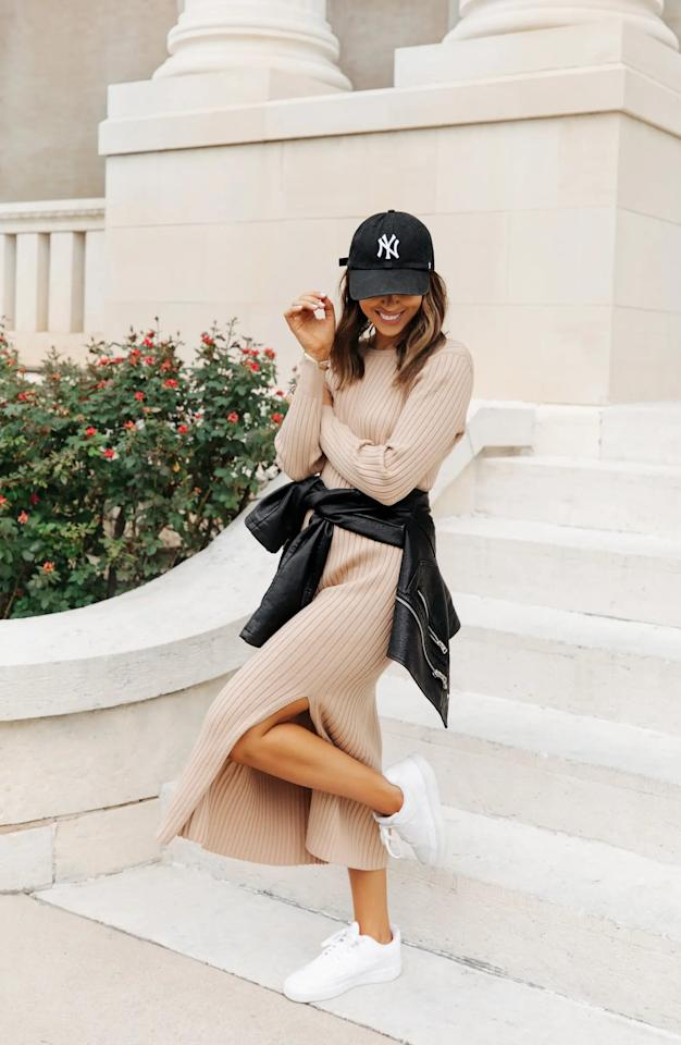 """<p>We're loving this cute <product href=""""https://www.nordstrom.com/s/wayf-x-bff-hollie-long-sleeve-sweater-dress/5715204?origin=keywordsearch-personalizedsort&amp;breadcrumb=Home%2FAll%20Results&amp;color=camel"""" target=""""_blank"""" class=""""ga-track"""" data-ga-category=""""internal click"""" data-ga-label=""""https://www.nordstrom.com/s/wayf-x-bff-hollie-long-sleeve-sweater-dress/5715204?origin=keywordsearch-personalizedsort&amp;breadcrumb=Home%2FAll%20Results&amp;color=camel"""" data-ga-action=""""body text link"""">Wayf x BFF Hollie Long Sleeve Sweater Dress</product> ($79).</p>"""