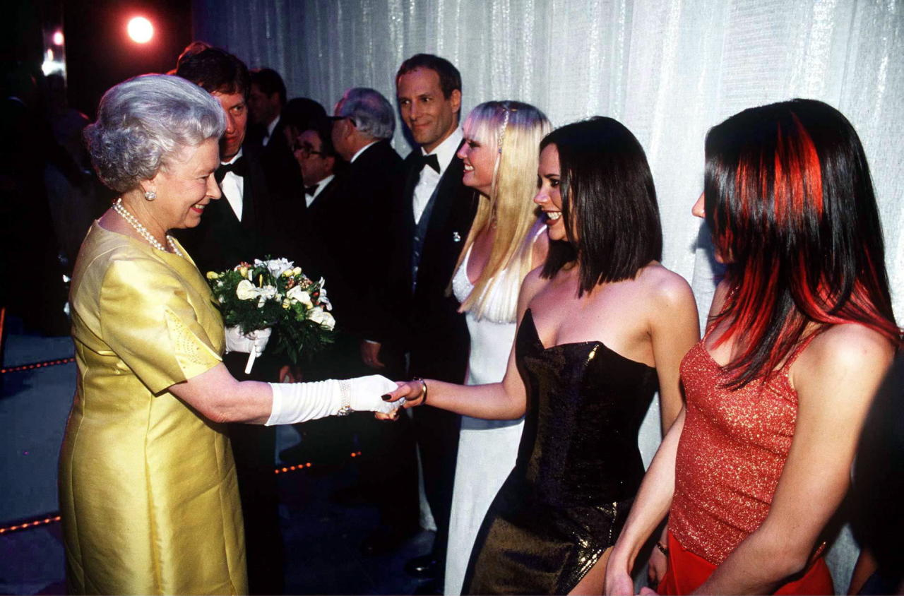 <p>In December 1997, the girl band met Her Majesty at the Victoria Palace theatre in some pretty protocol-breaking ensembles. We can't help but wonder what the Queen made of Mel C's highlights… <em>[Photo: Getty]</em> </p>