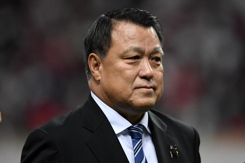 SAITAMA, JAPAN - DECEMBER 09: (EDITORIAL USE ONLY) JFA president Kozo Tashima looks on prior to the 98th Emperor's Cup Final between Urawa Red Diamonds and Vegalta Sendai at Saitama Stadium on December 09, 2018 in Saitama, Japan. (Photo by Etsuo Hara/Getty Images)