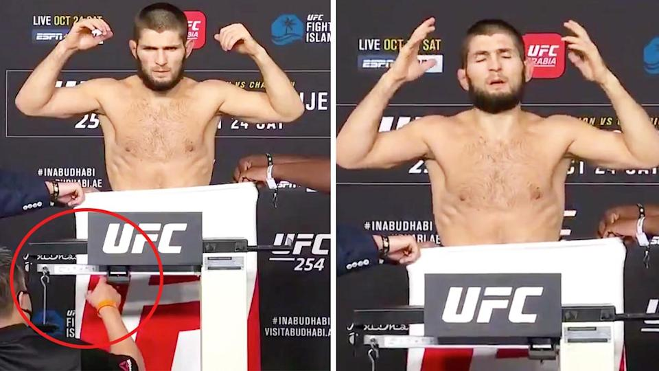 Khabib Nurmagomedov reacting (pictured right) on the scales after making the weight cut at the UFC weigh-in.