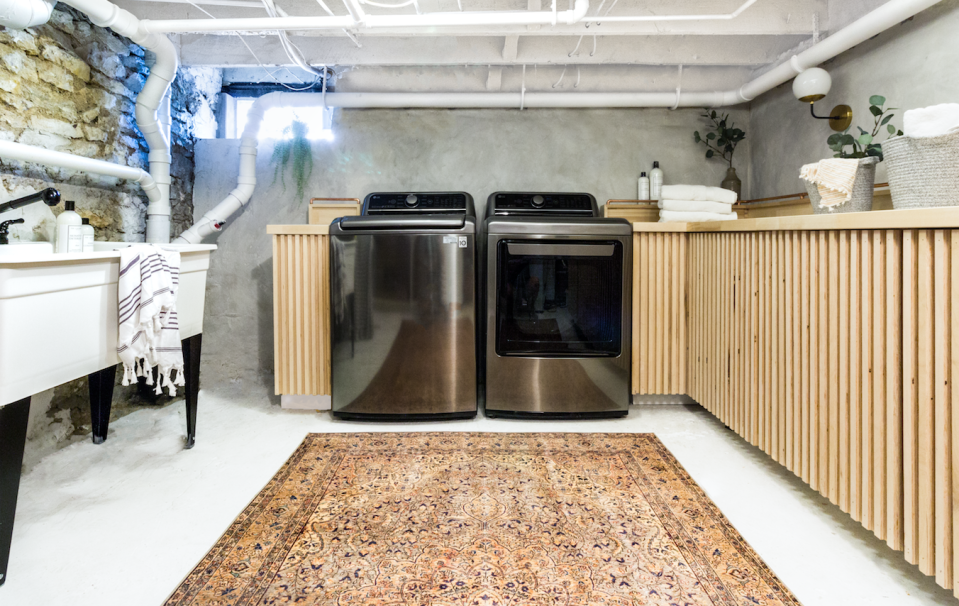 """<p>Sometimes the best thing to do is just embrace your imperfect space. This blog post will show you how to make the most of your basement on a budget, by skimming the walls and building your own copper clothing rack and slatted wood cabinets. </p><p><strong>See more at <a href=""""https://beginninginthemiddle.net/basementlaundryreveal/"""" rel=""""nofollow noopener"""" target=""""_blank"""" data-ylk=""""slk:Beginning in the Middle"""" class=""""link rapid-noclick-resp"""">Beginning in the Middle</a>.</strong></p><p><a class=""""link rapid-noclick-resp"""" href=""""https://go.redirectingat.com?id=74968X1596630&url=https%3A%2F%2Fwww.walmart.com%2Fip%2FMueller-Streamline-1-2-In-ID-x-4-Ft-Pre-Cut-Type-M-Copper-Pipe-MH04004%2F146054675&sref=https%3A%2F%2Fwww.thepioneerwoman.com%2Fhome-lifestyle%2Fdecorating-ideas%2Fg34763691%2Fbasement-ideas%2F"""" rel=""""nofollow noopener"""" target=""""_blank"""" data-ylk=""""slk:SHOP COPPER PIPES"""">SHOP COPPER PIPES</a></p>"""