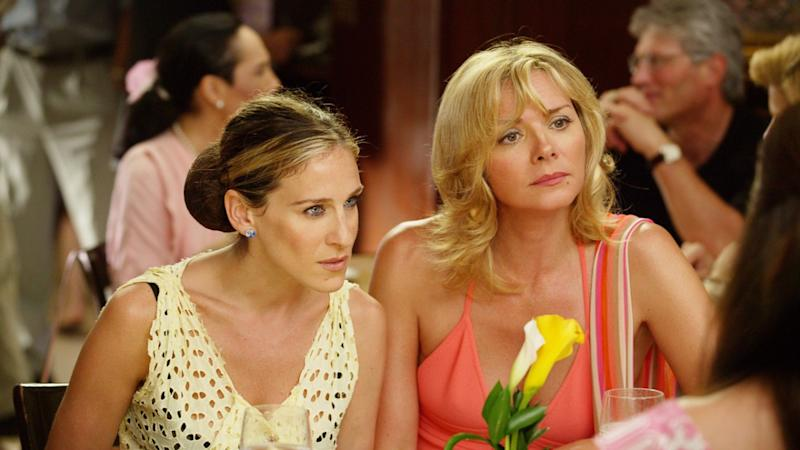 Carrie Bradshaw (Sarah Jessica Parker) and Samantha Jones (Kim Cattrall) appear in A Woman's Right to Shoes. Image: HBO