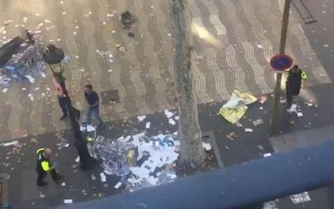 <span> Screengrab taken with permission from video posted on twitter by @pawilerma of the scene in Las Ramblas</span>