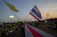 Supporters of Thai monarch wave national and royal flags ahead of the arrival of King Maha Vajiralongkorn and Queen Suthida to participate in a candle lighting ceremony to mark birth anniversary of late King Bhumibol Adulyadej at Sanam Luang ceremonial ground in Bangkok, Thailand, Saturday, Dec. 5, 2020. (AP Photo/Gemunu Amarasinghe)