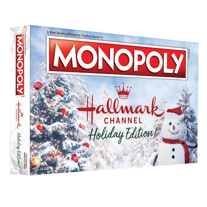 """<p><strong>Hallmark</strong></p><p>hallmark.com</p><p><strong>$39.99</strong></p><p><a href=""""https://www.hallmark.com/gifts/all-gifts/monopoly-hallmark-channel-holiday-edition-board-game-MN002708.html"""" rel=""""nofollow noopener"""" target=""""_blank"""" data-ylk=""""slk:Shop Now"""" class=""""link rapid-noclick-resp"""">Shop Now</a></p><p>It's Monopoly with a cozy, Hallmark holiday twist! In this vesion, the properties all have seasonal names, like Candy Cane Lane and Mistletoe Mountain — there's even a <em><a href=""""https://www.goodhousekeeping.com/life/entertainment/a34991761/where-is-when-calls-the-heart-filmed/"""" rel=""""nofollow noopener"""" target=""""_blank"""" data-ylk=""""slk:When Calls the Heart"""" class=""""link rapid-noclick-resp"""">When Calls the Heart</a></em> railroad. Even the tokens are things like presents and wreaths, and instead of building houses and hotels, you build cabins and lodges.</p>"""
