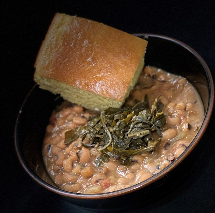 Check out their black-eyed peas with collard greens. Topped with a hearty piece of cornbread.