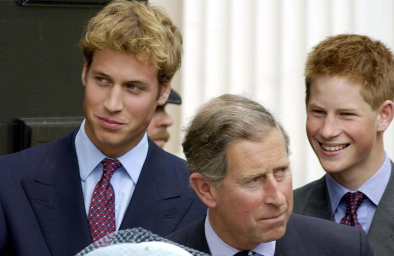 LONDON - AUGUST 4: (FILE PHOTO) Prince William, Charles, Prince of Wales and Prince Harry stand outside Clarence House on the Queen Mother's 101st birthday on August 4, 2001 in London, England. (Photo by Anwar Hussein/Getty Images)