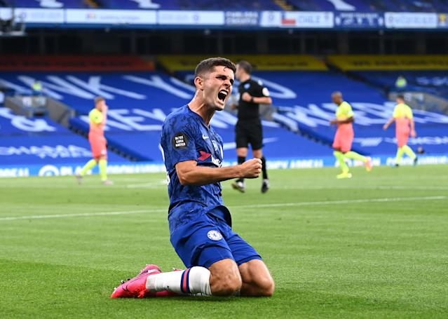 Christian Pulisic's first-half goal helped Chelsea beat Manchester City and deliver Liverpool its first English title since 1990. (Darren Walsh/Getty Images)