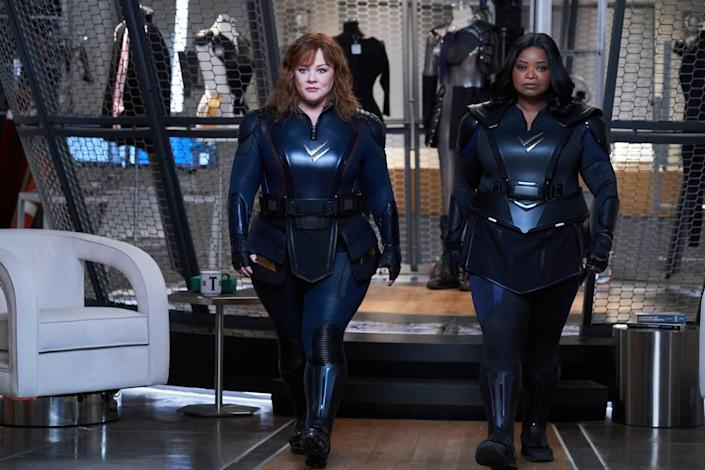 """Melissa McCarthy, left, and Octavia Spencer, right, star in """"Thunder Force"""" on Netflix."""