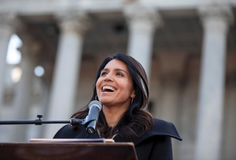 Democratic White House contender Gabbard sues Hillary Clinton for 'Russian asset' comment