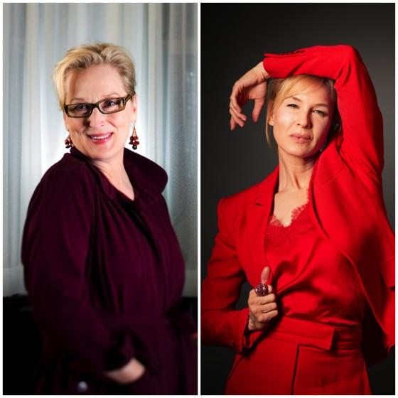 A diptych of Meryl Streep and Renee Zellweger for the Los Angeles Times' coverage of the 2021 Grammy nominations. Zellweger and Streep are both nominated in the Spoken Word category. Credit: Jay L. Clendenin/Los Angeles Times; Christina House / Los Angeles Times