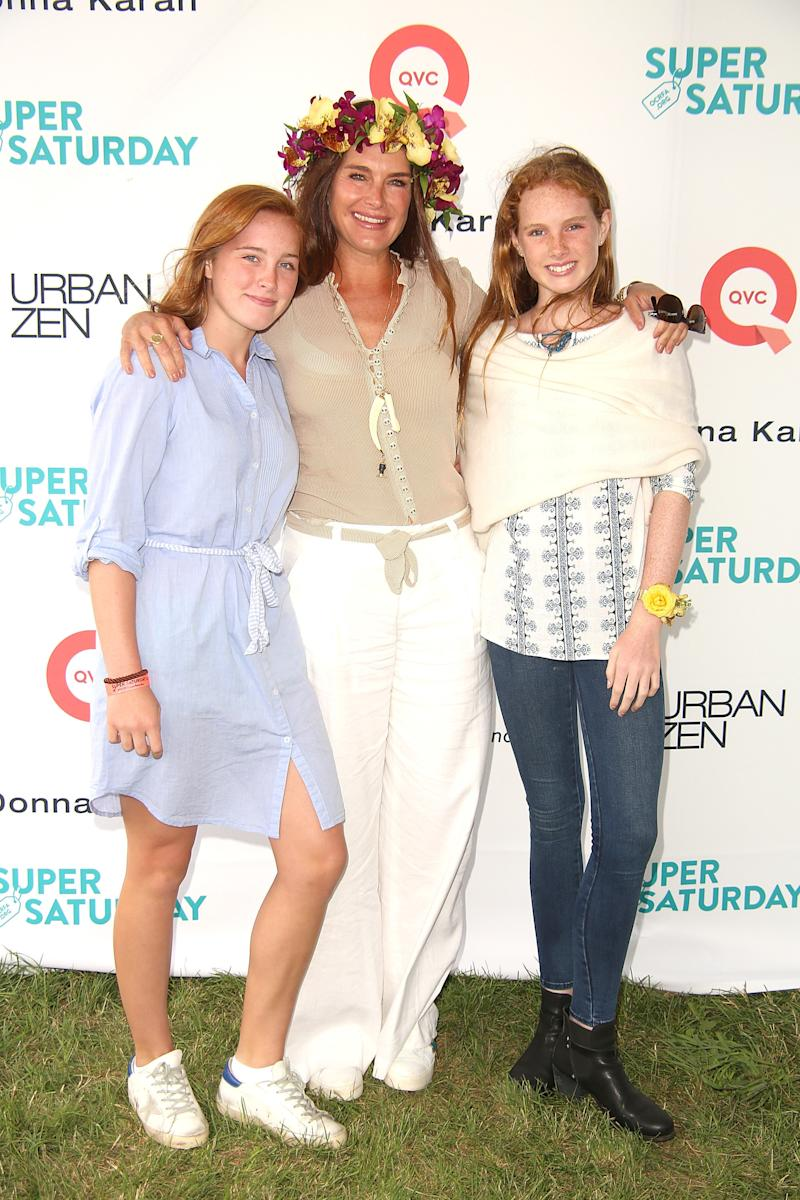 Rowan Henchy, Brooke Shields, and Grier Henchy attend the 20th Annual Super Saturday to benefit the Ovarian Cancer Research Fund Alliance on July 29. (Sonia Moskowitz via Getty Images)