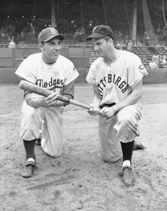 FILE - In this July 23, 1951 file photo, Gil Hodges, left, and Ralph Kiner pose. The baseball Hall of Fame says slugger Ralph Kiner has died. He was 91. The Hall says Kiner died Thursday, Feb. 6, 2014, at his home in Rancho Mirage, Calif. (AP Photo/File)