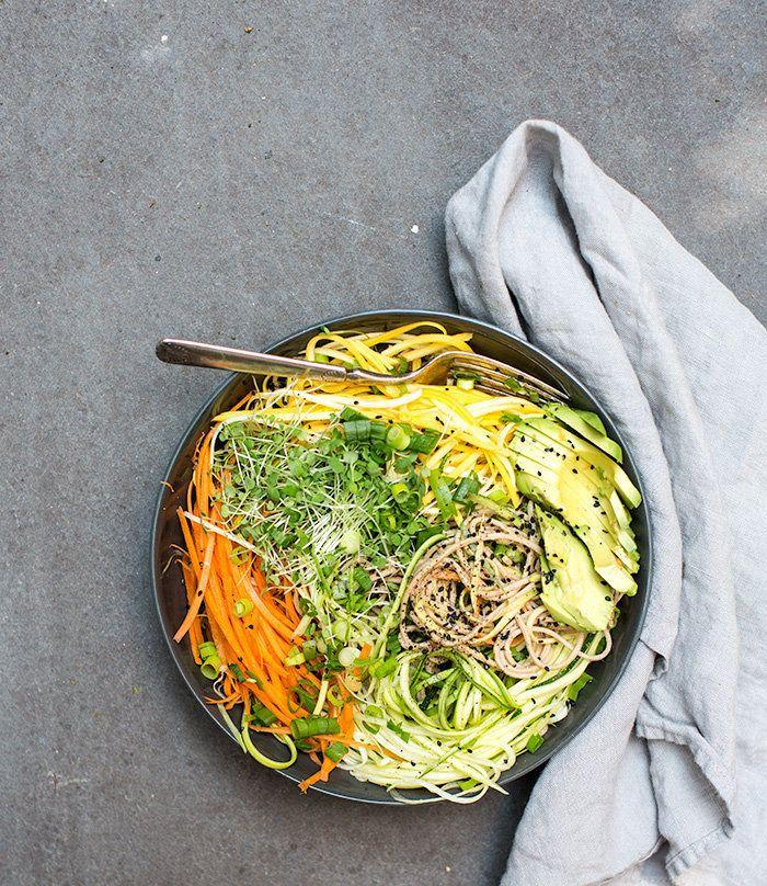 """<strong>Get the <a href=""""http://www.whatscookinggoodlooking.com/whats-cooking-good-looking/2014/7/8/cold-soba-noodle-salad-with-raw-veggie-noodles-a-spicy-sunflower-seed-sauce?rq=soba"""" target=""""_blank"""">Cold Soba Noodle Salad With Raw Veggie Noodles And A Spicy Sunflower Seed Sauce recipe</a>fromWhat's Cooking Good Looking</strong>"""