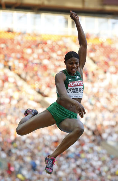 Nigeria's Blessing Okagbare competes in the women's long jump final at the World Athletics Championships in the Luzhniki stadium in Moscow, Russia, Sunday, Aug. 11, 2013. (AP Photo/Matt Dunham)