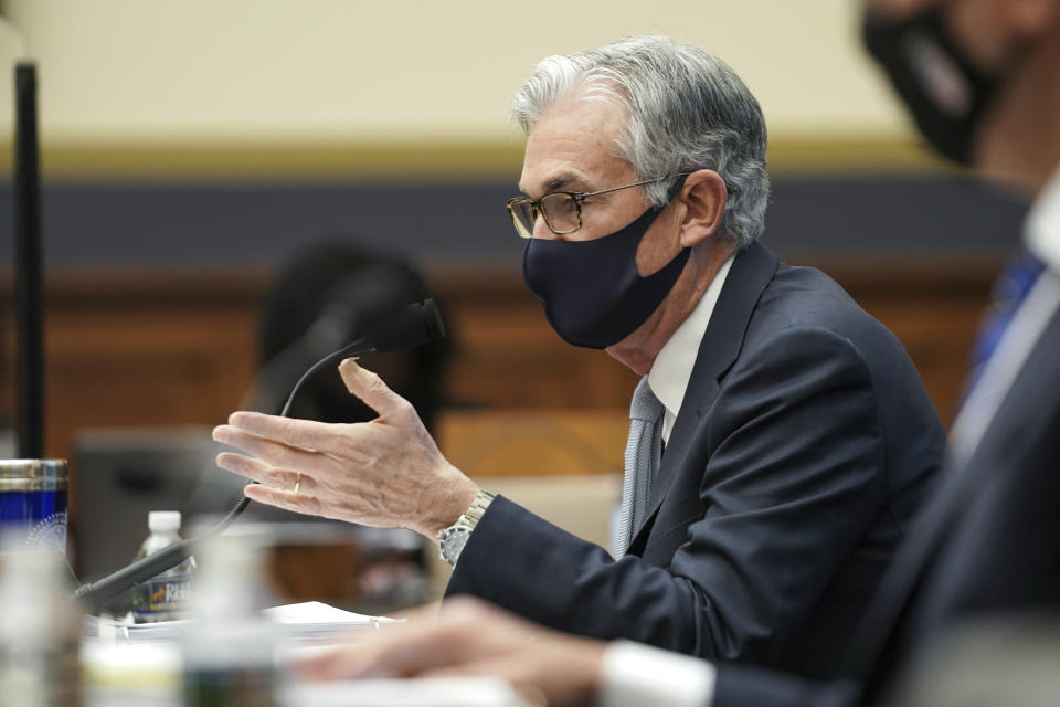 Federal Reserve Chairman Jerome Powell testifies before a House Financial Services Committee hearing on Capitol Hill in Washington on Wednesday, December 2, 2020. (Greg Nash / Pool via AP)