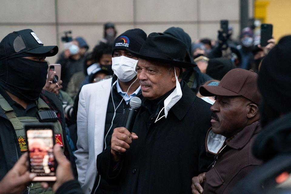 <p>Rev. Jesse Jackson speaks to protesters at a rally in downtown Minneapolis near the courthouse calling for justice for George Floyd after closing arguments.</p>