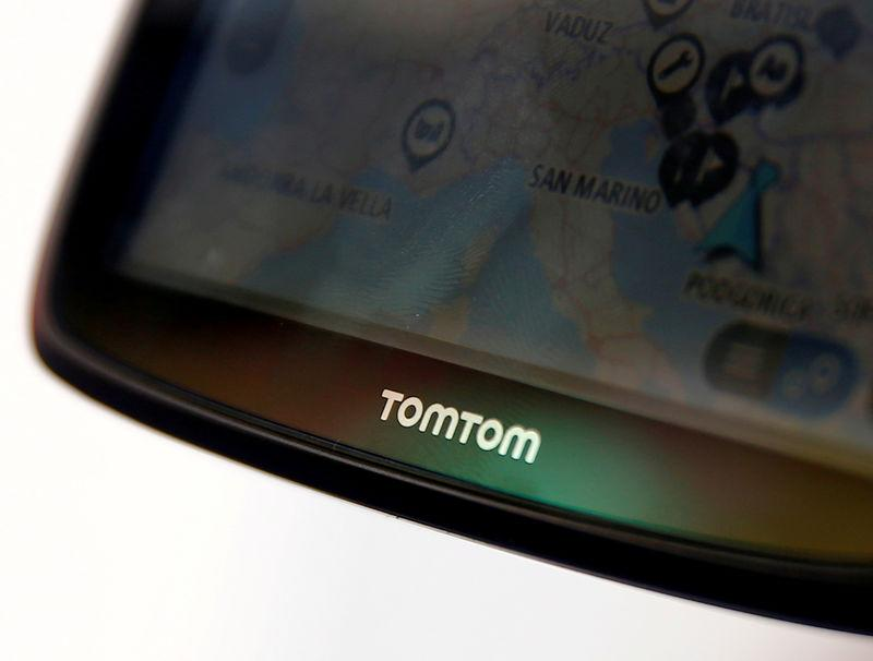 FILE PHOTO: TomTom navigation are seen in the car in this illustration taken