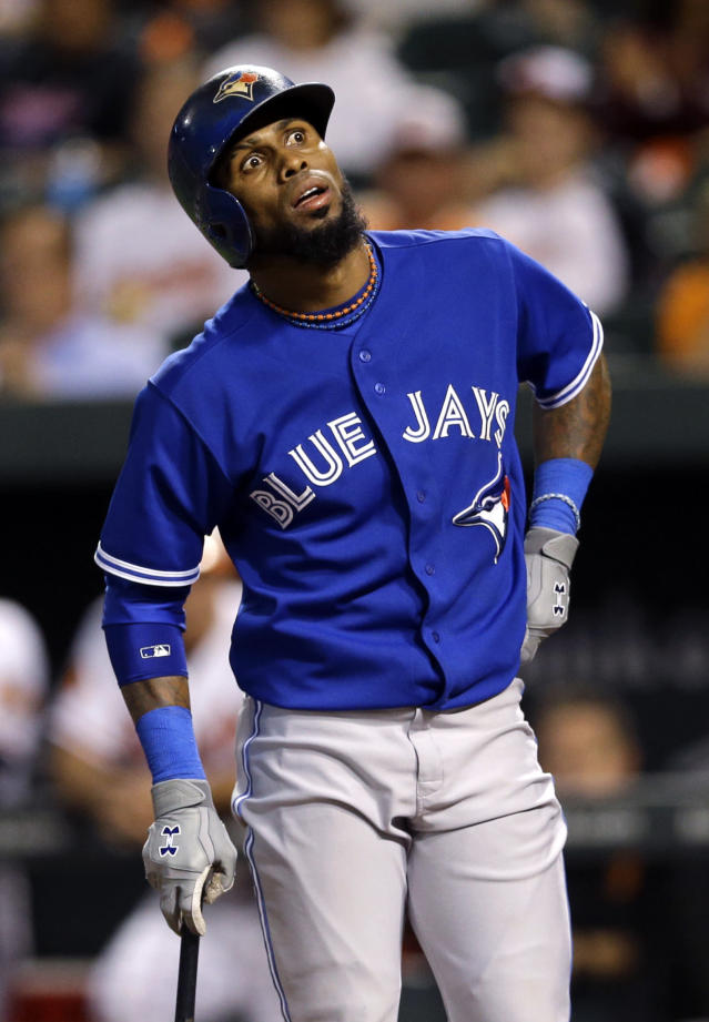 Toronto Blue Jays' Jose Reyes reacts after striking out looking in the first inning of a baseball game against the Baltimore Orioles, Thursday, Sept. 26, 2013, in Baltimore. (AP Photo/Patrick Semansky)