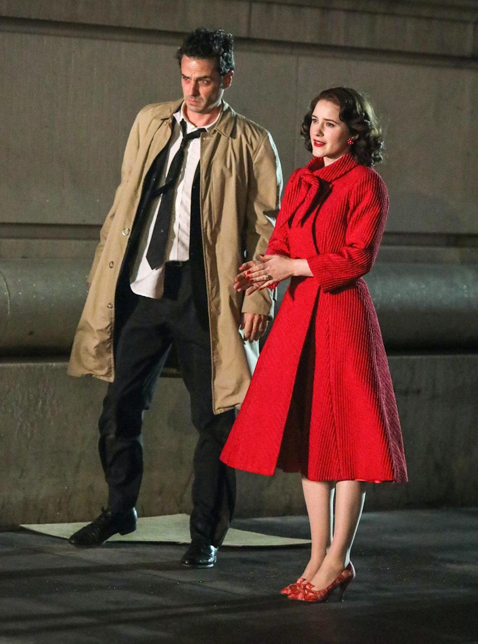 <p>Brosnahan wore a bright red ensemble while filming a scene with Luke Kirby, who plays Lenny Bruce, on May 10. </p>
