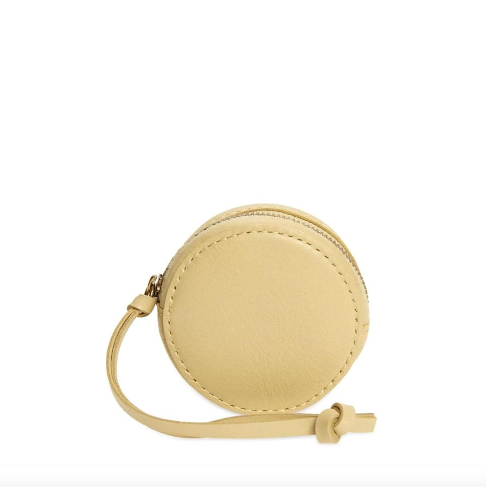 <p>Think of this <span>Madewell The Mini Leather Circle Pouch</span> ($32) as part purse, part wallet, but all style. Its compact design makes this the perfect thing to bring on errand runs or your next workout session.</p>