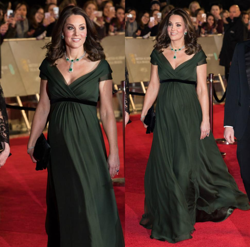<p><strong>When: Feb. 18, 2018</strong><br />It's the second time in a week Middleton has worn the vibrant colour — at the BAFTAs on Sunday, Kate ditched the unofficial all-black dress code in favour of a hunter green Jenny Packham gown. Gorgeous, right? <em>(Photo: Getty)</em> </p>