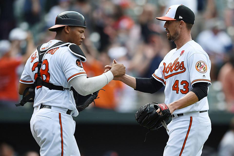 Baltimore Orioles pitcher Shawn Armstrong could be a resource for saves, but it might be a bumpy ride. (AP Photo/Gail Burton)
