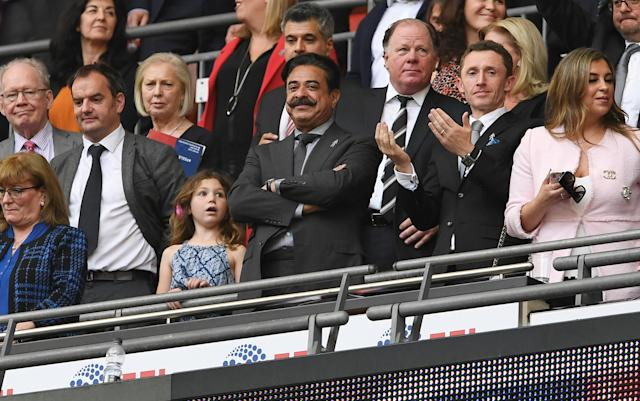 "Soccer Football - Championship Play-Off Final - Fulham vs Aston Villa - Wembley Stadium, London, Britain - May 26, 2018 Fulham owner Shahid Khan celebrates promotion to the Premier League Action Images via Reuters/Tony O'Brien EDITORIAL USE ONLY. No use with unauthorized audio, video, data, fixture lists, club/league logos or ""live"" services. Online in-match use limited to 75 images, no video emulation. No use in betting, games or single club/league/player publications. Please contact your account representative for further details."