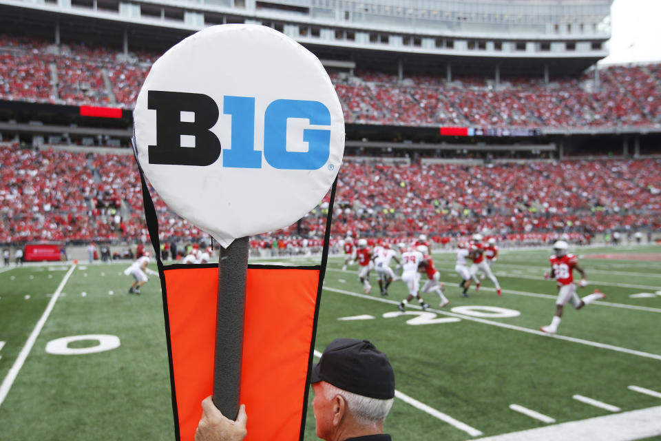 General view of the Big Ten logo on a yard marker during the game between Ohio State and Rutgers on Oct. 1, 2016. (Joe Robbins/Getty Images)